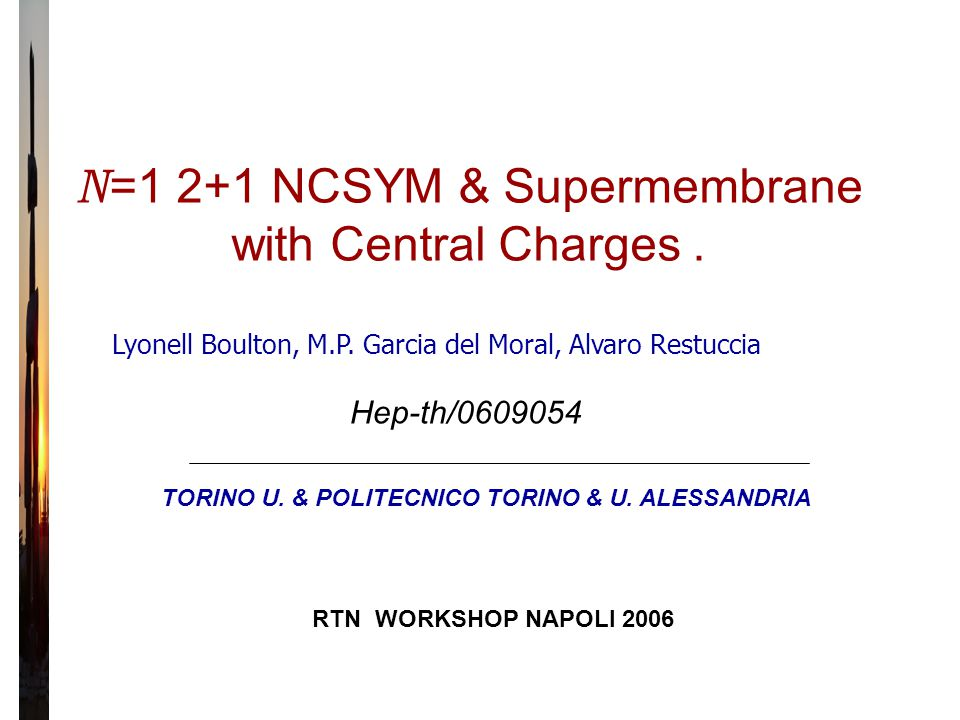N =1 2+1 NCSYM & Supermembrane with Central Charges.