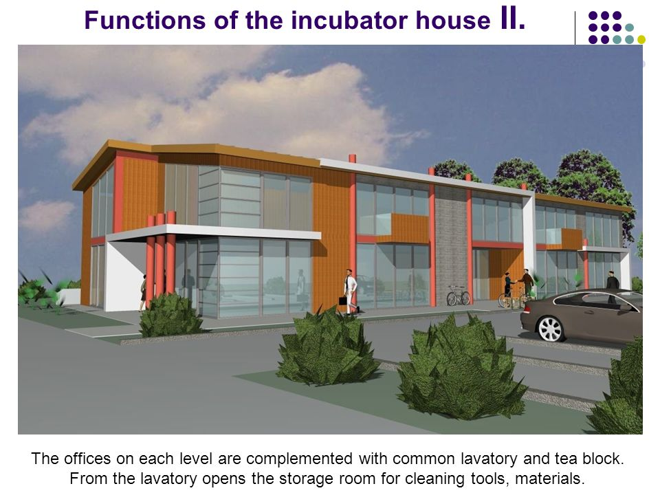 Functions of the incubator house II.