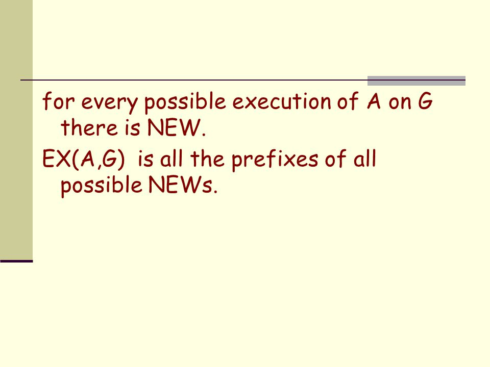 for every possible execution of A on G there is NEW. EX(A,G) is all the prefixes of all possible NEWs.