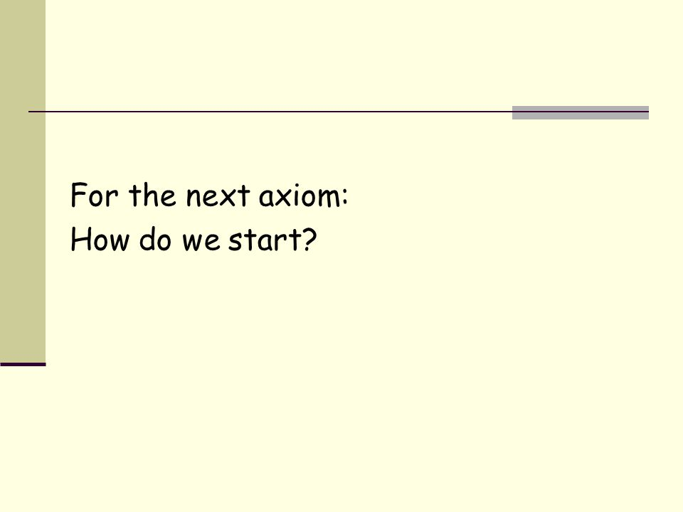 For the next axiom: How do we start