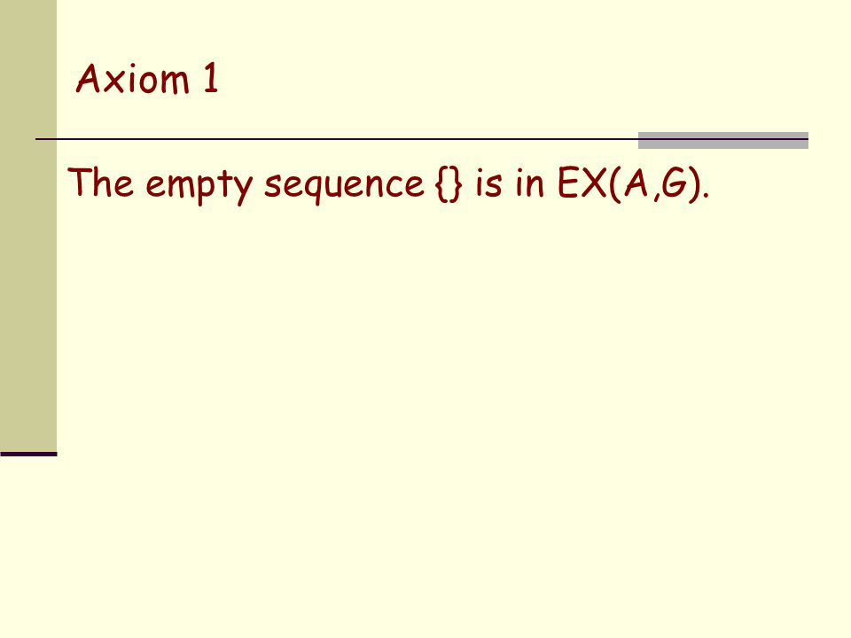Axiom 1 The empty sequence {} is in EX(A,G).