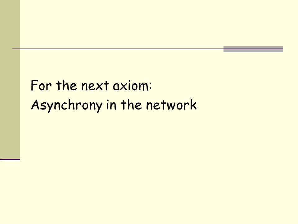For the next axiom: Asynchrony in the network