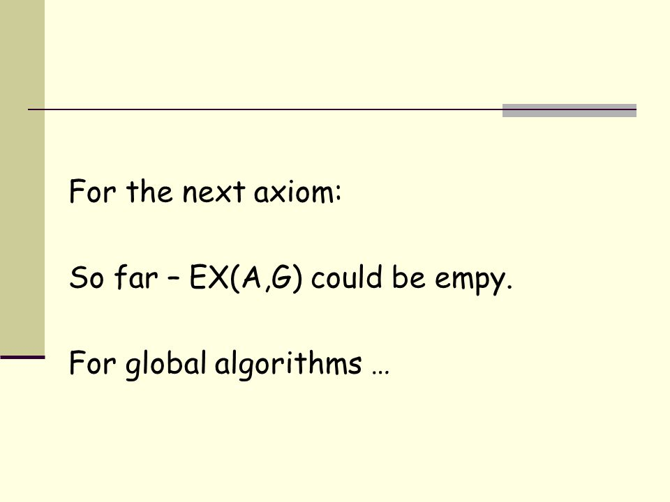 For the next axiom: So far – EX(A,G) could be empy. For global algorithms …