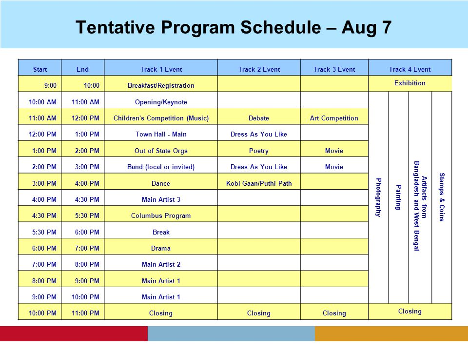 Tentative Program Schedule – Aug 7 StartEndTrack 1 EventTrack 2 EventTrack 3 EventTrack 4 Event 9:0010:00Breakfast/Registration Exhibition 10:00 AM11:00 AMOpening/Keynote Photography Painting Artifacts from Bangladesh and West Bengal Stamps & Coins 11:00 AM12:00 PMChildren s Competition (Music)DebateArt Competition 12:00 PM1:00 PMTown Hall - MainDress As You Like 1:00 PM2:00 PMOut of State OrgsPoetryMovie 2:00 PM3:00 PMBand (local or invited)Dress As You LikeMovie 3:00 PM4:00 PMDanceKobi Gaan/Puthi Path 4:00 PM4:30 PMMain Artist 3 4:30 PM5:30 PMColumbus Program 5:30 PM6:00 PMBreak 6:00 PM7:00 PMDrama 7:00 PM8:00 PMMain Artist 2 8:00 PM9:00 PMMain Artist 1 9:00 PM10:00 PMMain Artist 1 10:00 PM11:00 PMClosing