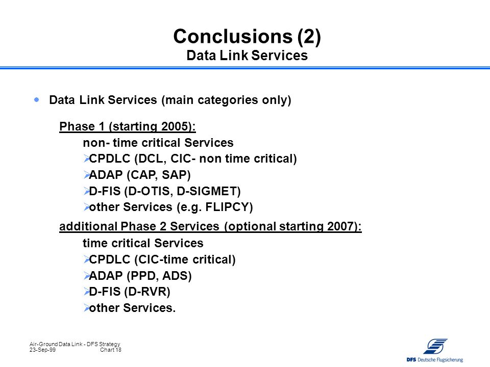 Air-Ground Data Link - DFS Strategy 23-Sep-99Chart 18  Data Link Services (main categories only) Conclusions (2) Data Link Services Phase 1 (starting