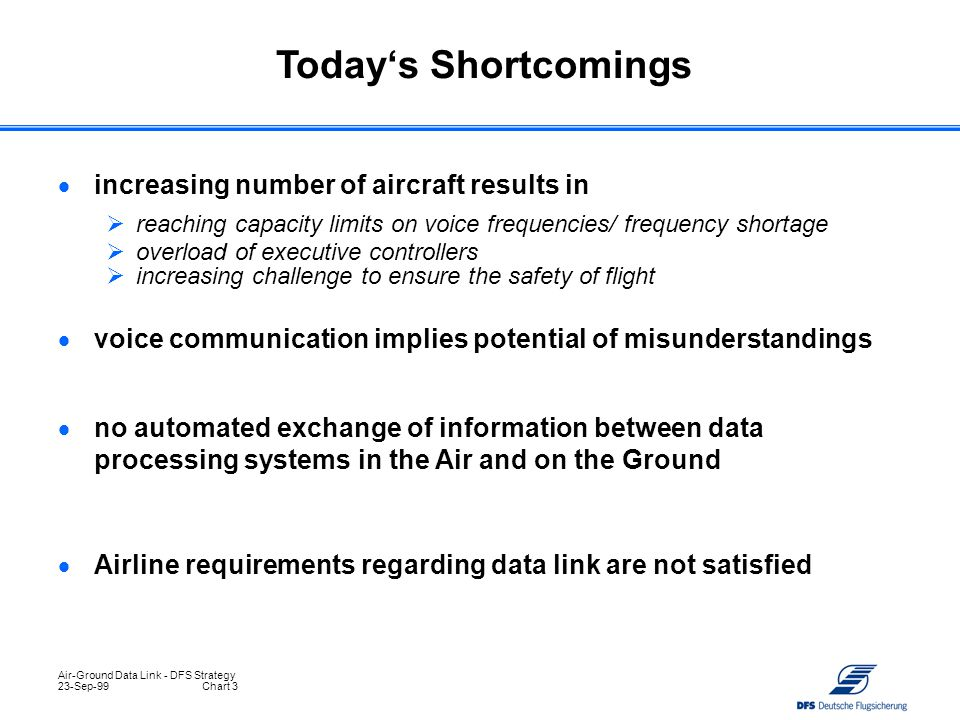 Air-Ground Data Link - DFS Strategy 23-Sep-99Chart 3  increasing number of aircraft results in  reaching capacity limits on voice frequencies/ frequ