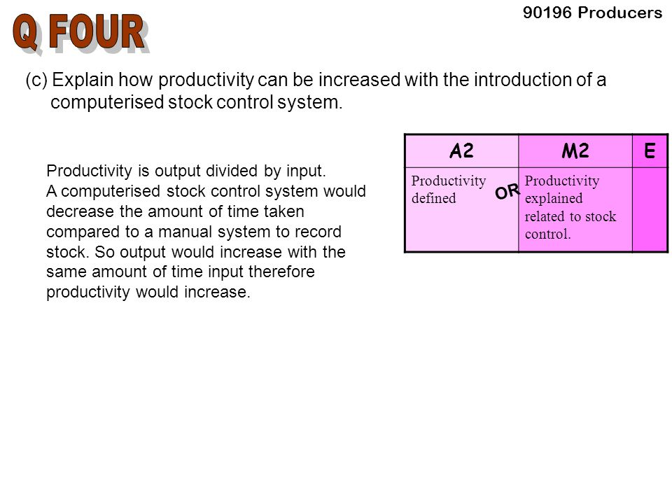 (c) Explain how productivity can be increased with the introduction of a computerised stock control system.