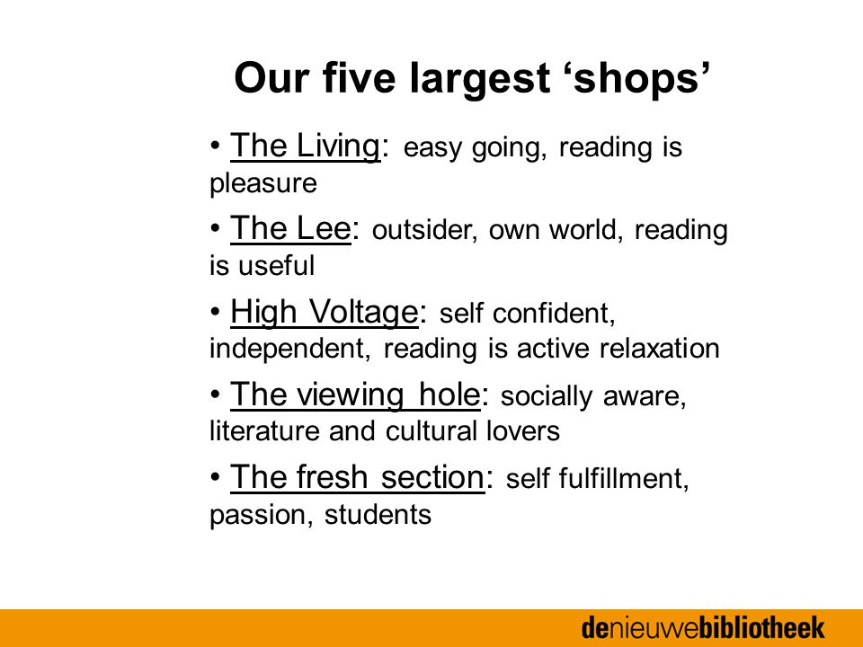 The Living: easy going, reading is pleasure The Lee: outsider, own world, reading is useful High Voltage: self confident, independent, reading is active relaxation The viewing hole: socially aware, literature and cultural lovers The fresh section: self fulfillment, passion, students Our five largest 'shops'