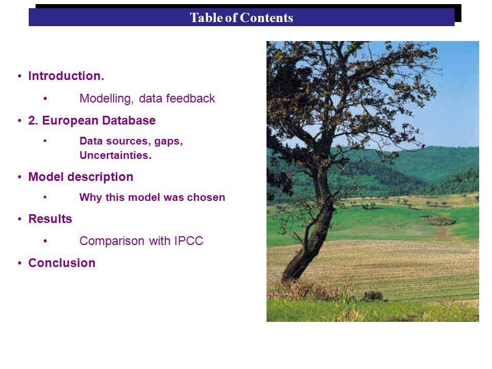 Introduction. Modelling, data feedback 2. European Database Data sources, gaps, Uncertainties.