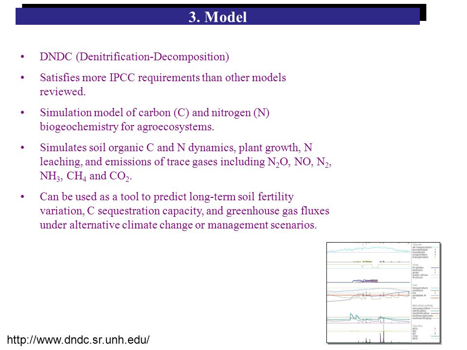 3. Model DNDC (Denitrification-Decomposition) Satisfies more IPCC requirements than other models reviewed. Simulation model of carbon (C) and nitrogen