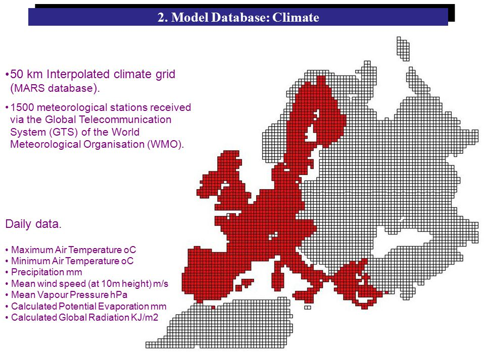50 km Interpolated climate grid ( MARS database ).