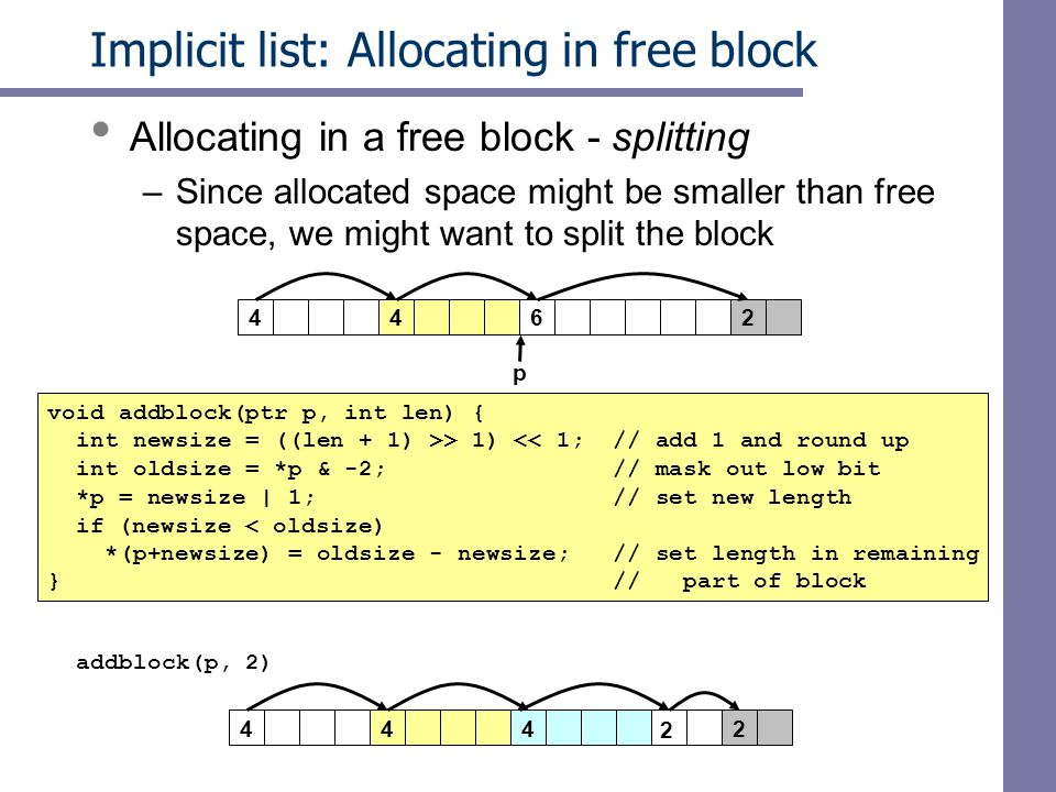 Implicit list: Allocating in free block Allocating in a free block - splitting –Since allocated space might be smaller than free space, we might want to split the block void addblock(ptr p, int len) { int newsize = ((len + 1) >> 1) << 1; // add 1 and round up int oldsize = *p & -2; // mask out low bit *p = newsize | 1; // set new length if (newsize < oldsize) *(p+newsize) = oldsize - newsize; // set length in remaining } // part of block 4426 424 p 2 4 addblock(p, 2)