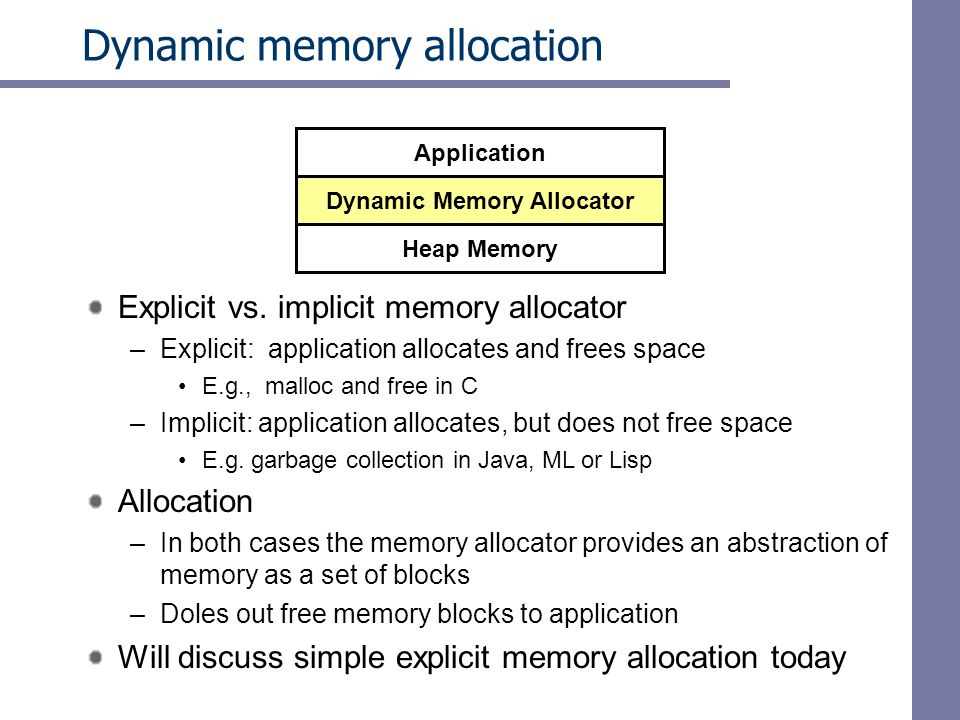 Dynamic memory allocation Explicit vs.