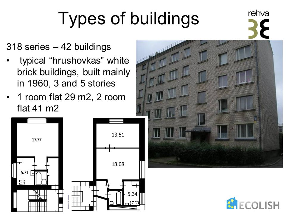 Types of buildings 318 series – 42 buildings typical hrushovkas white brick buildings, built mainly in 1960, 3 and 5 stories 1 room flat 29 m2, 2 room flat 41 m2