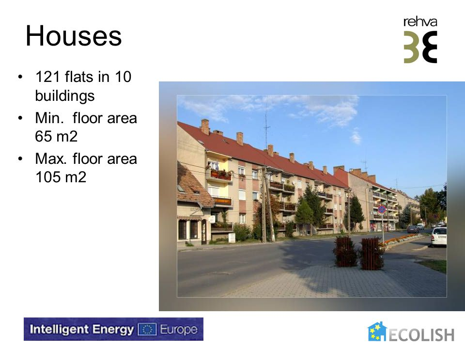 Houses 121 flats in 10 buildings Min. floor area 65 m2 Max. floor area 105 m2