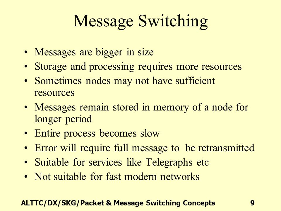 ALTTC/DX/SKG/Packet & Message Switching Concepts 10 Evolution of Packet switching Break the message into smaller packets Transmit the packets hop by hop to destination Destination reassembles packets into original message Requires less resources at nodes Process becomes faster compared to message switching Error requires only retransmission of errored packet not the full message