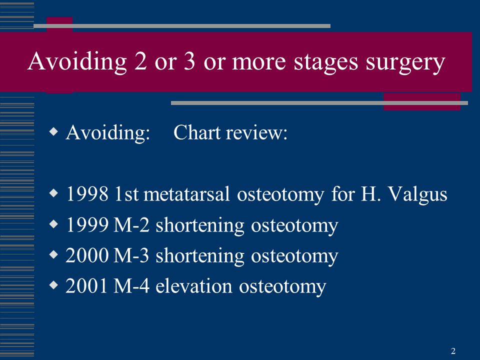 2 Avoiding 2 or 3 or more stages surgery  Avoiding: Chart review:  1998 1st metatarsal osteotomy for H.