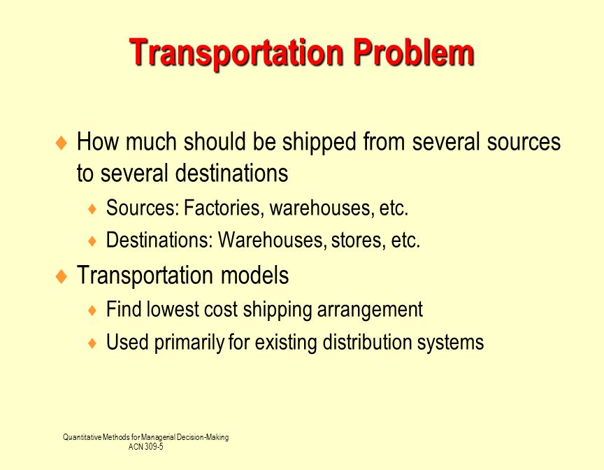 Quantitative Methods for Managerial Decision-Making ACN 309-5 A Transportation Model Requires  The origin points, and the capacity or supply per period at each  The destination points and the demand per period at each  The cost of shipping one unit from each origin to each destination