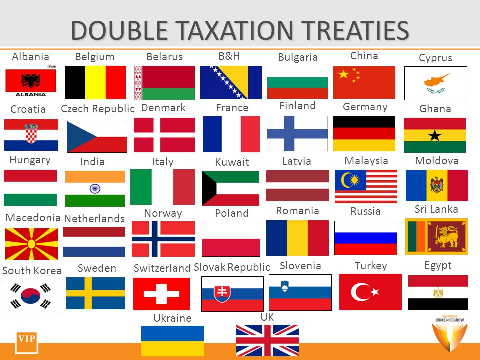 DOUBLE TAXATION TREATIES AlbaniaBelgiumBelarus B&H Bulgaria China Cyprus Finland France Germany Ghana Hungary India Italy South Korea Kuwait Latvia Macedonia MalaysiaMoldova Netherlands Norway Poland Romania Russia Slovak Republic Slovenia Sri Lanka SwedenSwitzerland Denmark Egypt UK Ukraine Turkey Czech Republic Croatia