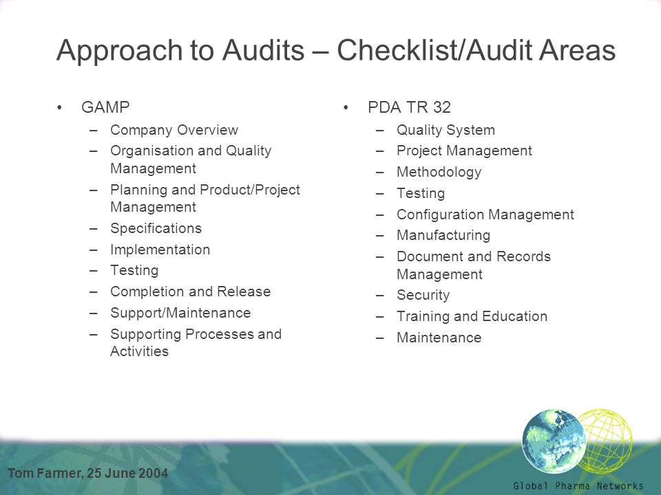 Tom Farmer, 25 June 2004 Approach to Audits – Checklist/Audit Areas GAMP –Company Overview –Organisation and Quality Management –Planning and Product/