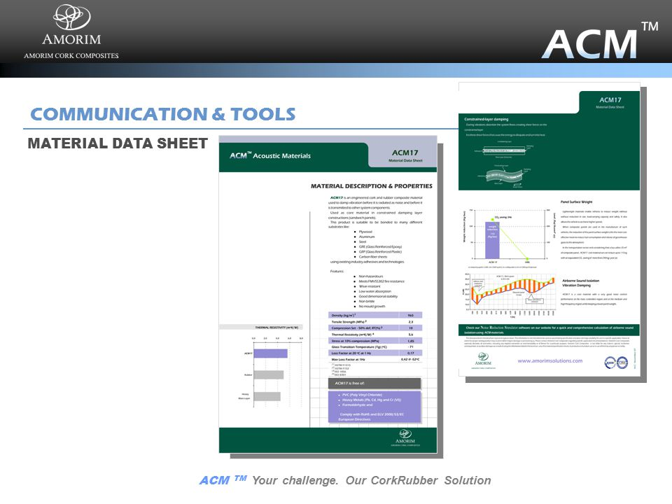 ACM TM Your challenge. Our CorkRubber Solution COMMUNICATION & TOOLS BROCHURE