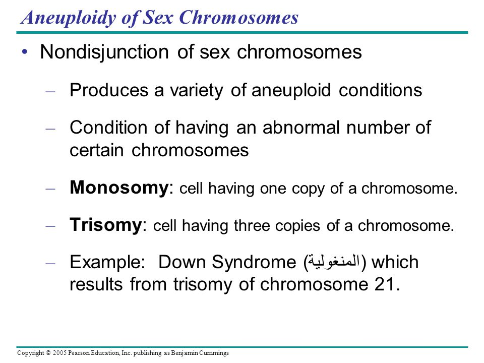 Copyright © 2005 Pearson Education, Inc. publishing as Benjamin Cummings Aneuploidy of Sex Chromosomes Nondisjunction of sex chromosomes – Produces a