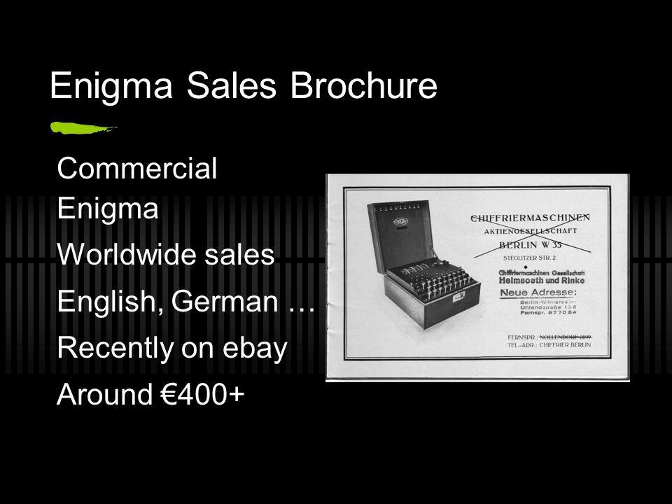 Enigma Sales Brochure Commercial Enigma Worldwide sales English, German … Recently on ebay Around €400+