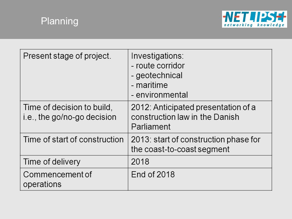 Planning Present stage of project.Investigations: - route corridor - geotechnical - maritime - environmental Time of decision to build, i.e., the go/no-go decision 2012: Anticipated presentation of a construction law in the Danish Parliament Time of start of construction2013: start of construction phase for the coast-to-coast segment Time of delivery2018 Commencement of operations End of 2018