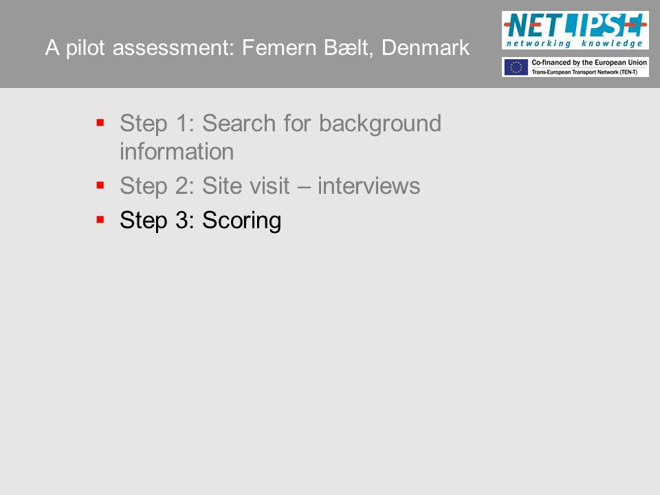 A pilot assessment: Femern Bælt, Denmark  Step 1: Search for background information  Step 2: Site visit – interviews  Step 3: Scoring