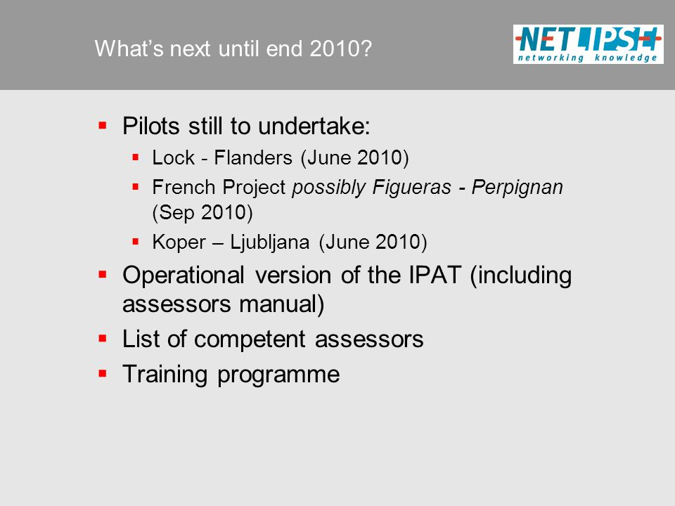 What's next until end 2010.