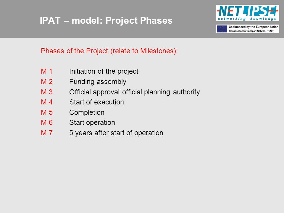 IPAT – model: Project Phases Phases of the Project (relate to Milestones): M 1Initiation of the project M 2Funding assembly M 3Official approval official planning authority M 4Start of execution M 5Completion M 6Start operation M 75 years after start of operation