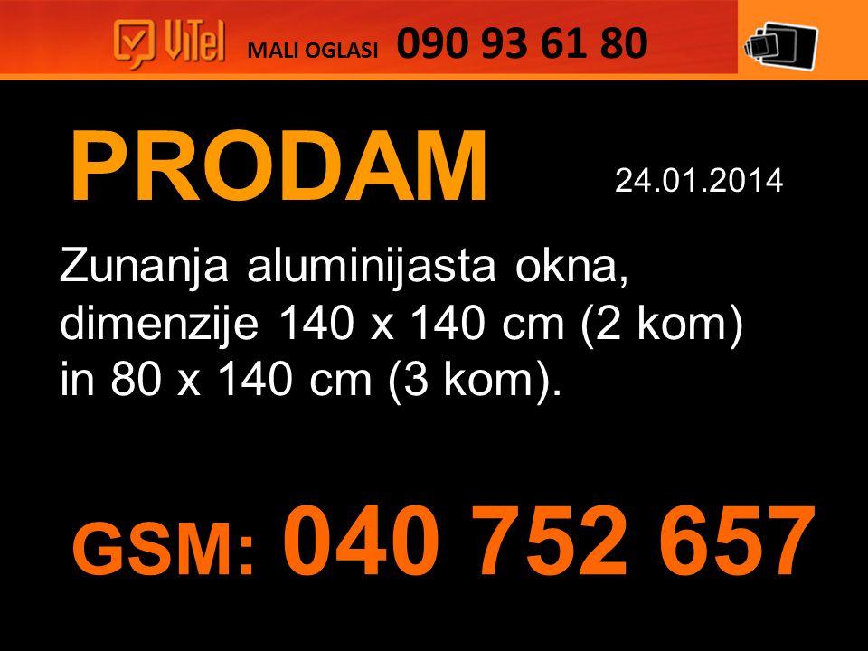 PRODAM Zunanja aluminijasta okna, dimenzije 140 x 140 cm (2 kom) in 80 x 140 cm (3 kom).