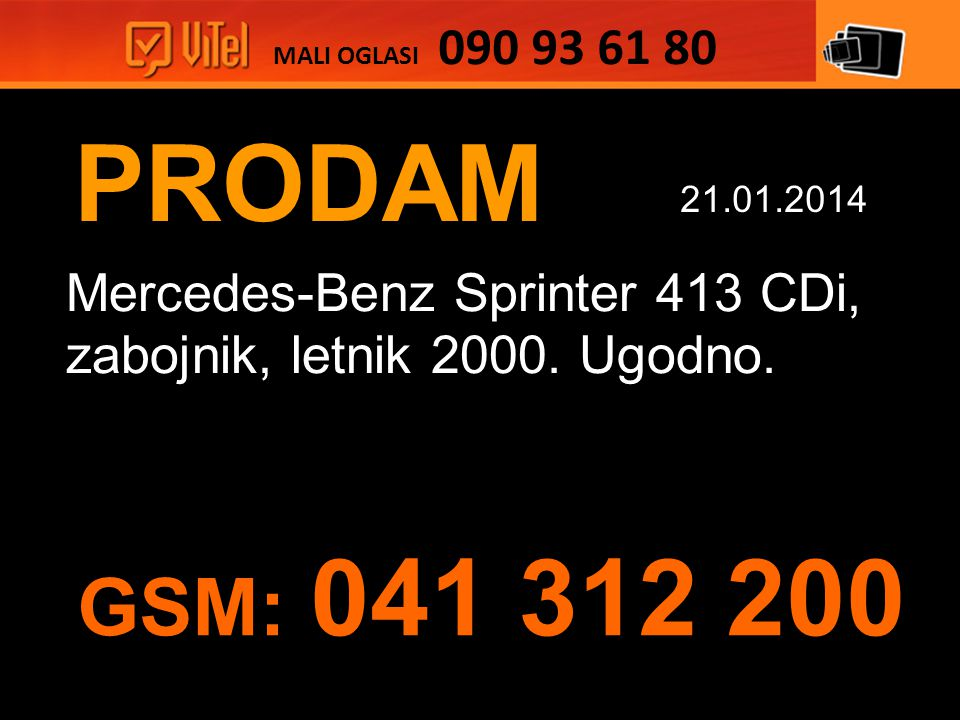 PRODAM Mercedes-Benz Sprinter 413 CDi, zabojnik, letnik 2000.