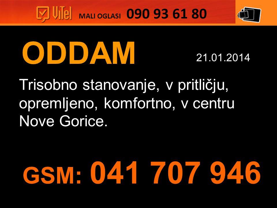 ODDAM Trisobno stanovanje, v pritličju, opremljeno, komfortno, v centru Nove Gorice.