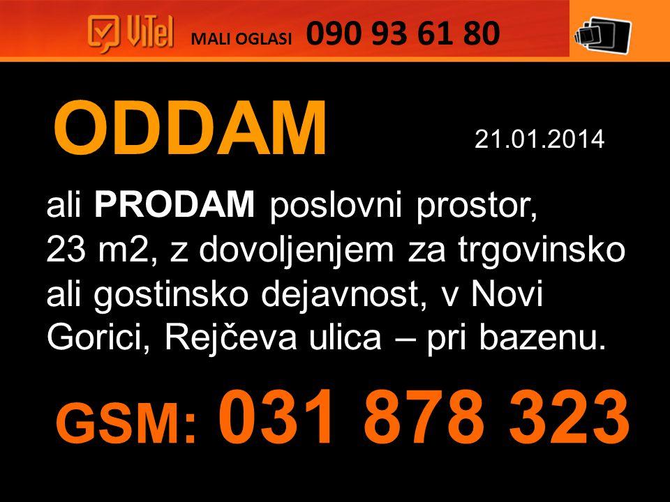 ODDAM ali PRODAM poslovni prostor, 23 m2, z dovoljenjem za trgovinsko ali gostinsko dejavnost, v Novi Gorici, Rejčeva ulica – pri bazenu.