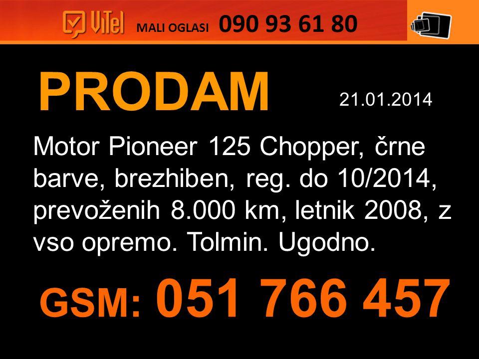 PRODAM Motor Pioneer 125 Chopper, črne barve, brezhiben, reg.