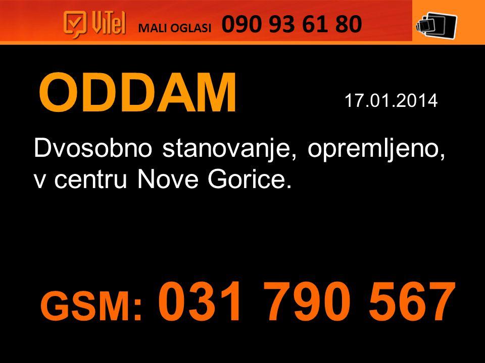 ODDAM Dvosobno stanovanje, opremljeno, v centru Nove Gorice.