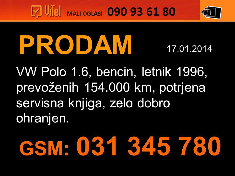 PRODAM VW Polo 1.6, bencin, letnik 1996, prevoženih 154.000 km, potrjena servisna knjiga, zelo dobro ohranjen.