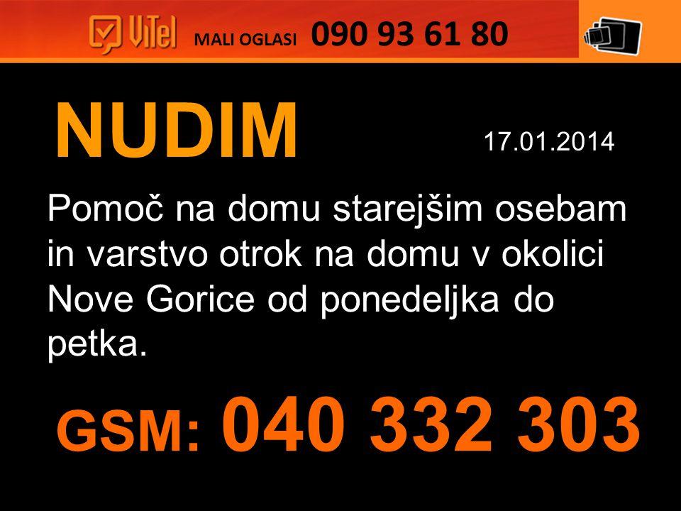 NUDIM Pomoč na domu starejšim osebam in varstvo otrok na domu v okolici Nove Gorice od ponedeljka do petka.