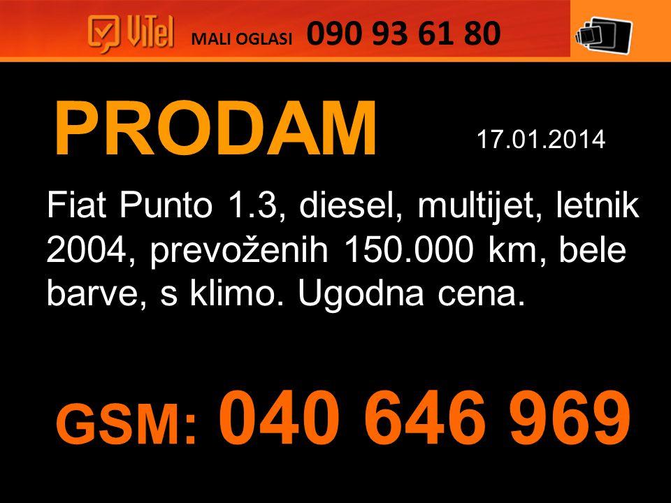 PRODAM Fiat Punto 1.3, diesel, multijet, letnik 2004, prevoženih 150.000 km, bele barve, s klimo.