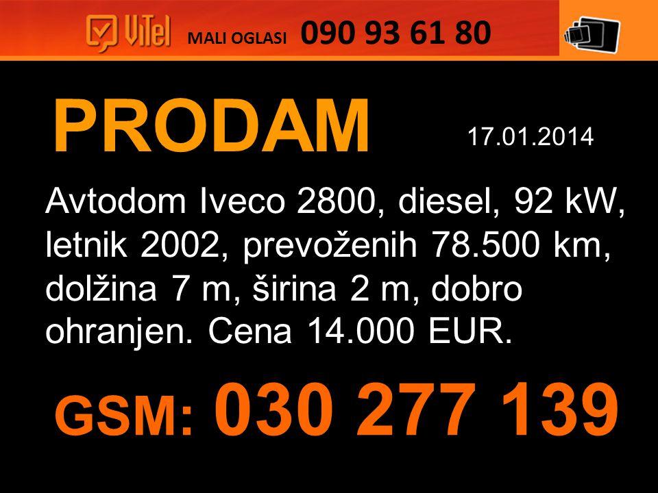 PRODAM Avtodom Iveco 2800, diesel, 92 kW, letnik 2002, prevoženih 78.500 km, dolžina 7 m, širina 2 m, dobro ohranjen.