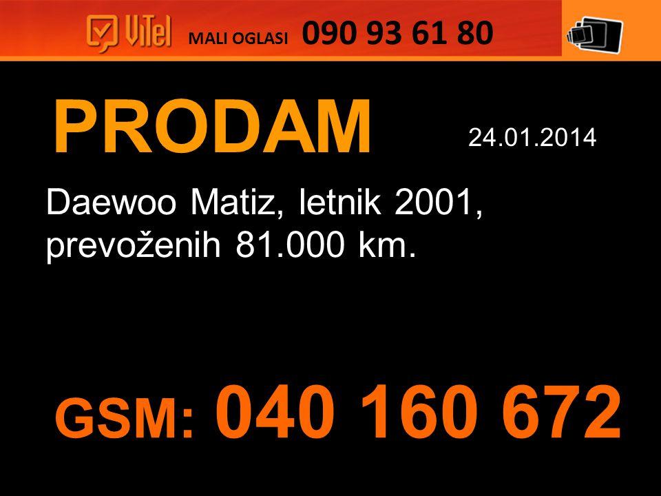 PRODAM Daewoo Matiz, letnik 2001, prevoženih 81.000 km.
