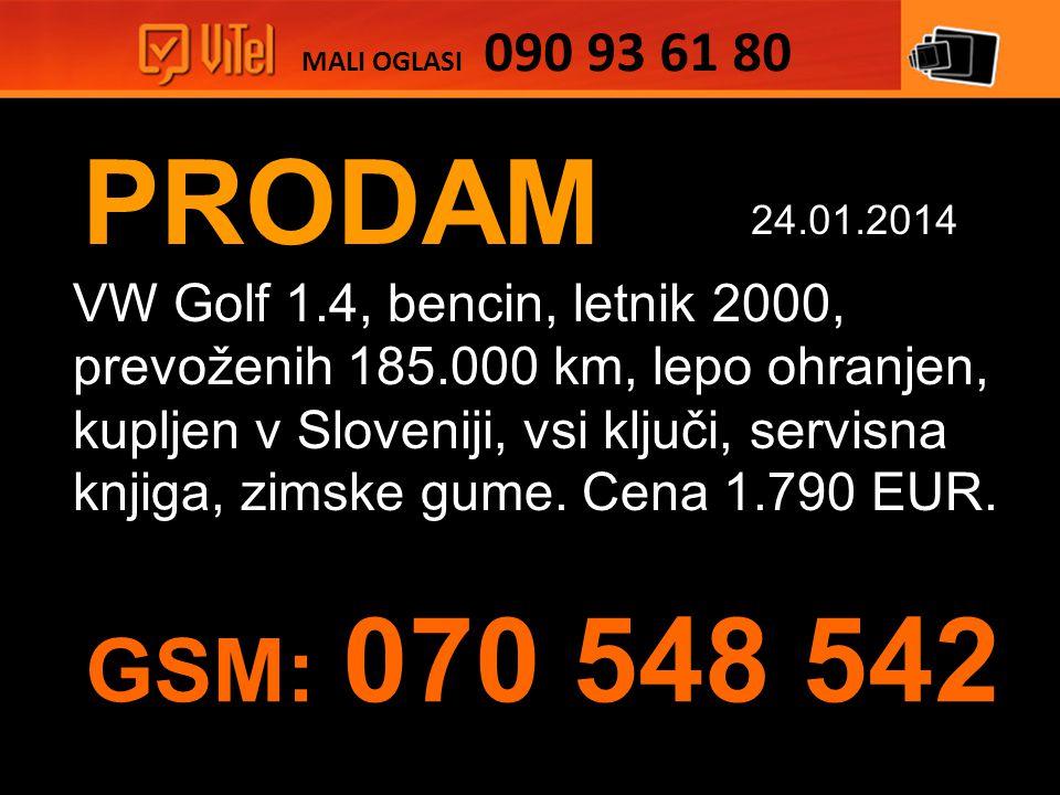 PRODAM VW Golf 1.4, bencin, letnik 2000, prevoženih 185.000 km, lepo ohranjen, kupljen v Sloveniji, vsi ključi, servisna knjiga, zimske gume.