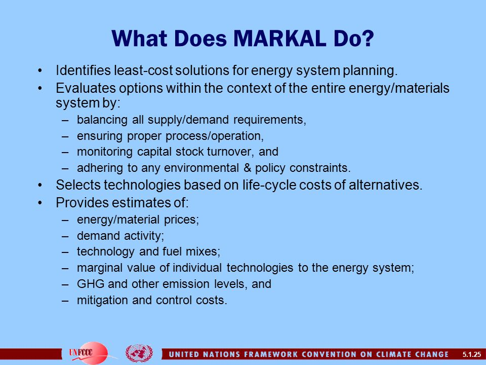 5.1.25 What Does MARKAL Do. Identifies least-cost solutions for energy system planning.