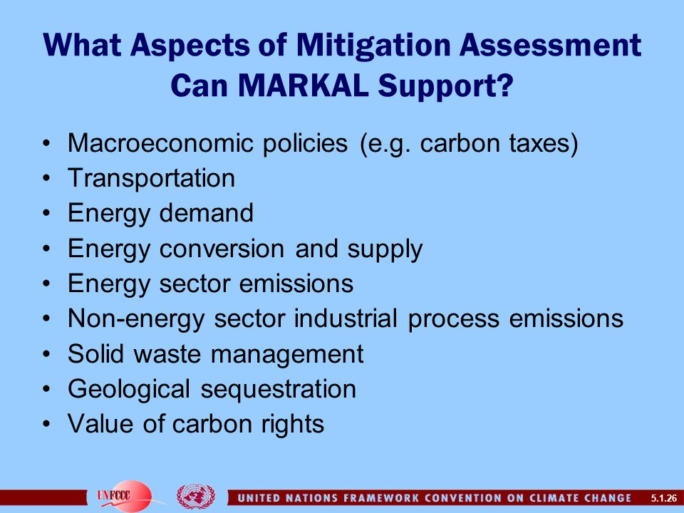 5.1.26 What Aspects of Mitigation Assessment Can MARKAL Support.