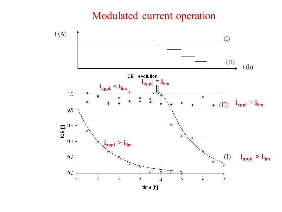 i appl. < i lim i appl. > i lim i appl. = i lim (I) (II) I (A) t (h) (I) (II) i appl. = i lim Modulated current operation i appl. > i lim