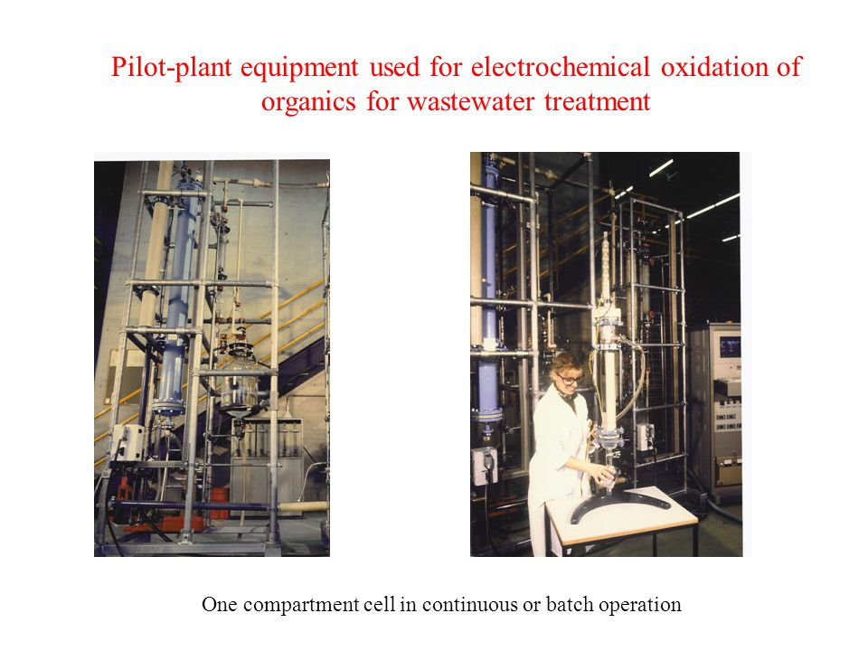Pilot-plant equipment used for electrochemical oxidation of organics for wastewater treatment One compartment cell in continuous or batch operation