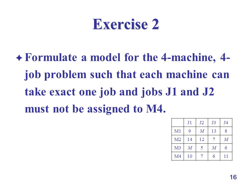 16 Exercise 2  Formulate a model for the 4-machine, 4- job problem such that each machine can take exact one job and jobs J1 and J2 must not be assig