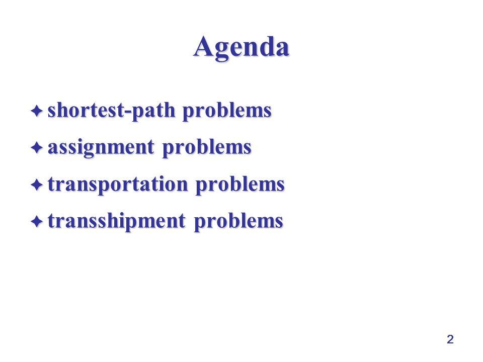 2 Agenda  shortest-path problems  assignment problems  transportation problems  transshipment problems