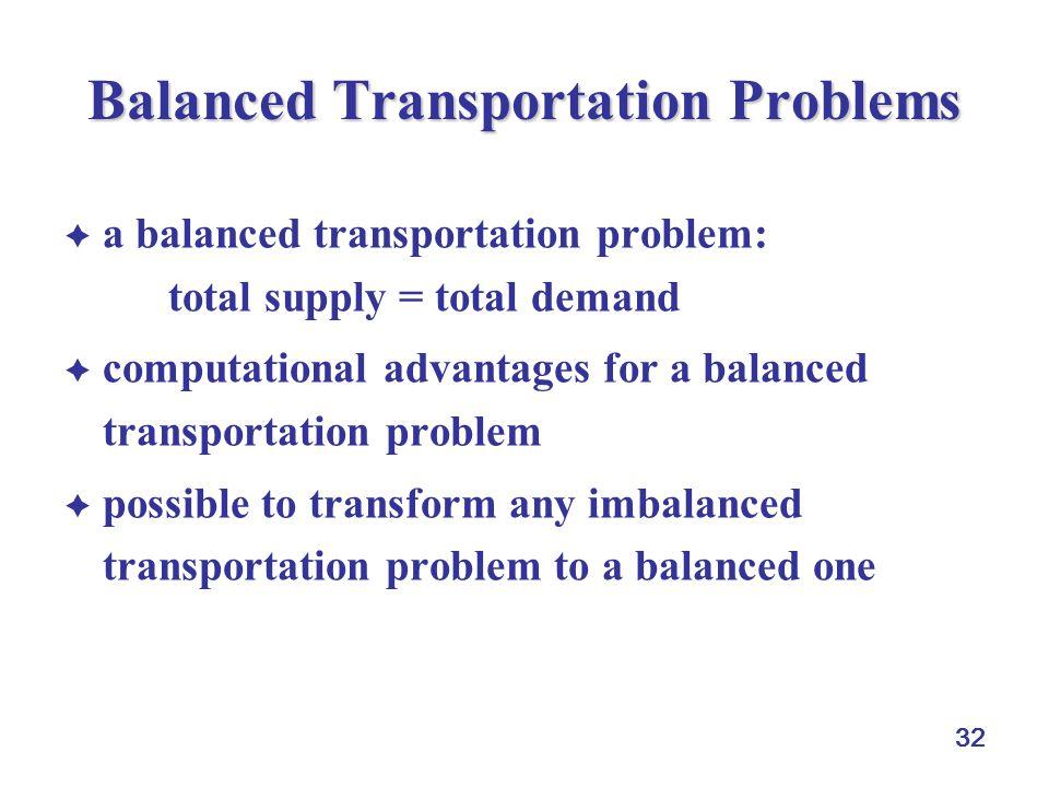 32 Balanced Transportation Problems  a balanced transportation problem: total supply = total demand  computational advantages for a balanced transportation problem  possible to transform any imbalanced transportation problem to a balanced one